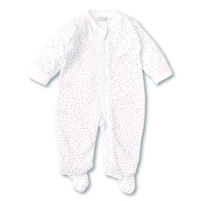 Kissy Kissy Superstars White/Lt Blue Footie w/Zip
