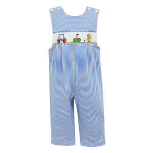 Petit Bebe Golf Blue Stripe Knit Long Jon Jon
