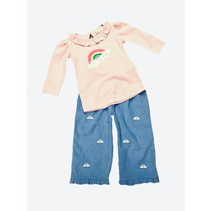 Luigi Rainbow w/Clouds Embroidered Pant Set