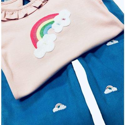 Luigi Rainbow w/Clouds Embroidered Pant Set