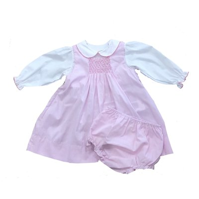 Petit Ami Pink Smocked Inset Dress w/Bloomer