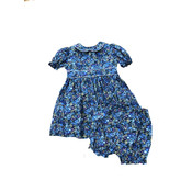 Petit Ami Blue Floral Dress w/Bloomer