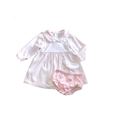 Olivia Pink Gingham Dress w/ Diaper Cover