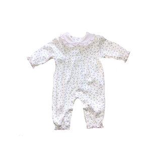 Baby Bliss Lacey Purple Floral Baby Collar Playsuit