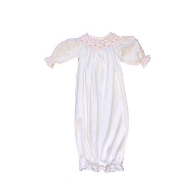 White & Pink Smocked Pima Bishop Gown