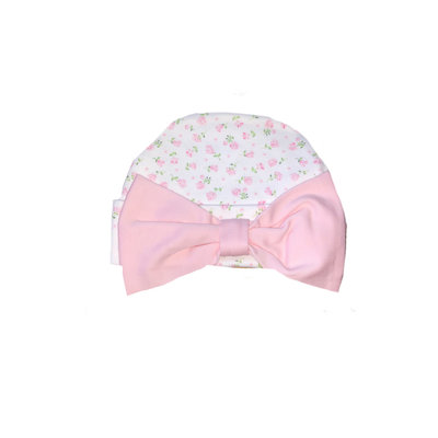 Baby Bliss Alice Pink Floral Pima Bow Beanie