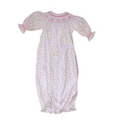 Casey Pink Floral Pima Hand Smocked Bishop Gown