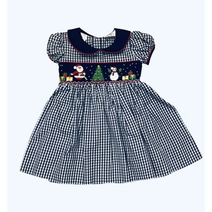 Lulu Bebe LLC Navy Santa Smocked Dress