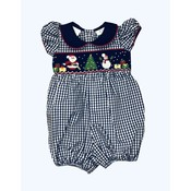 Lulu Bebe LLC Navy Santa Smocked Girl Bubble