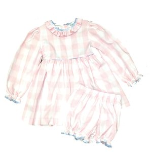 Lulu Bebe LLC Pink Buffalo Check Bloomer Set