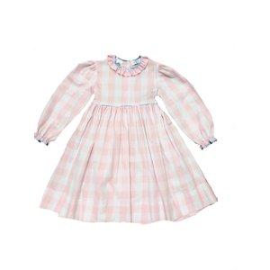 Lulu Bebe LLC Pink Buffalo Check L/S Dress