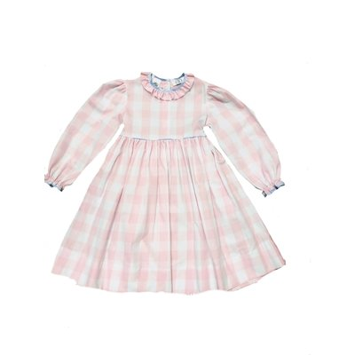 Lulu Bebe LLC Pink Buffalo Check L/S Dress