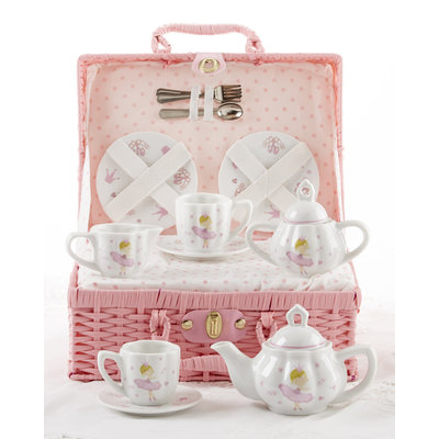 Delton Products Pink Bella Porcelain Tea Set