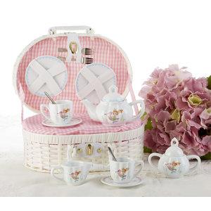 Delton Products Mermaid Porcelian Tea Set w/ Basket