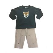 Luigi Boy's Fox Head Embroidered Pant Set