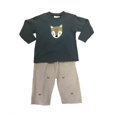 Luigi Boy's Fox Head Embroidered Pant Set