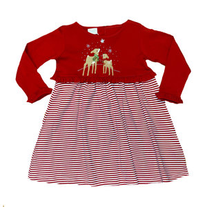 Squiggles Gazing Reindeer Stripe Dress