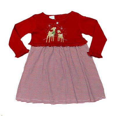 Squiggles Gazing Reindeer Stripe Dress