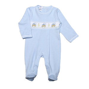 Baby Bliss Blue Tractors Hand Smocked Pima Footie
