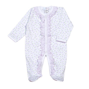 Baby Bliss Lacey Purple Floral/Gingham Pima Ruffles Footie