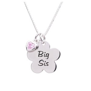 Cherished Moments Big Sis Flower Sterling Necklace