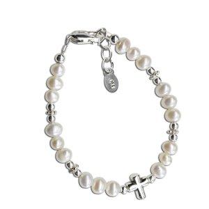 Cherished Moments Freshwater Pearl Sterling Silver Cross Bracelet