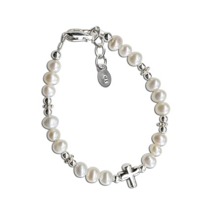 Cherished Moments Freshwater Pearl Sterling Silver Cross Bracelet