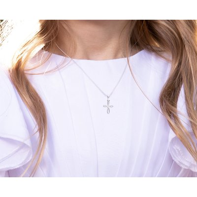 Cherished Moments Infinity Cross Sterling Silver Necklace