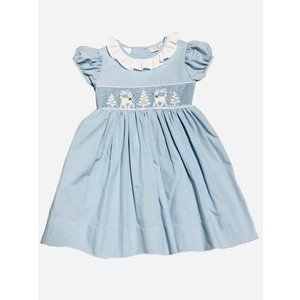 Lulu Bebe LLC Reindeer/Tree Smocked Dress