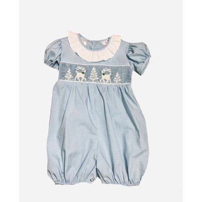 Lulu Bebe LLC Reindeer/Tree Smocked Bubble