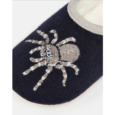 Navy Spider Felt Mule Slipper