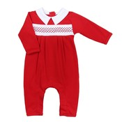 Magnolia Baby Julie and Jame's Classic Red Smocked Collared Playsuit