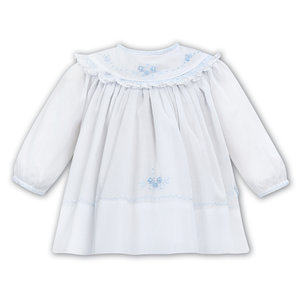 Sarah Louise White Dress with Blue Embroidered Flowers