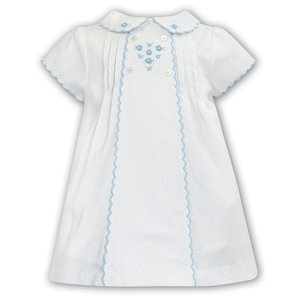 Sarah Louise Blue Dot Aline Dress w/Embroidery