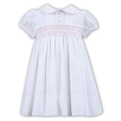 Sarah Louise White Dress w/Pink Smocked Bodice