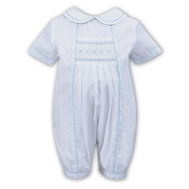 Sarah Louise White Romper with Blue Smocked Inset