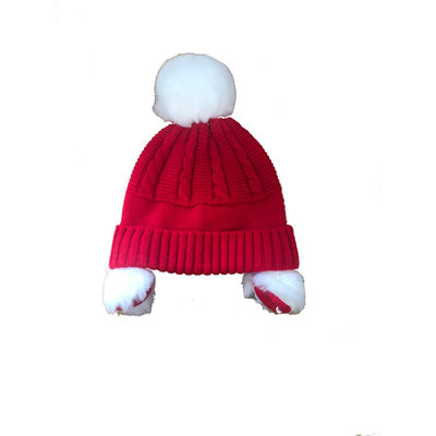 Sarah Louise Red Sweater Pom Pom Hat