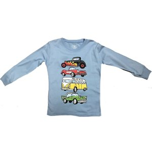 Wes and Willy Vintage Cars Long Sleeve T NC Blue