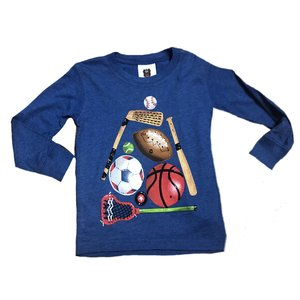 Wes and Willy Sports Ball Long Sleeve T Blue Moon Blend