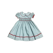 Lulu Bebe LLC Smocked Striped Dress with Red Piping