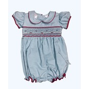 Lulu Bebe LLC Smocked Striped Girl's Bubble with Red Piping