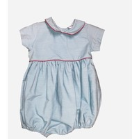 Lulu Bebe LLC Basic Striped Boy's Bubble with Red Piping