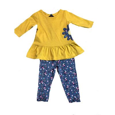 Globaltex Yellow Floral Applique Legging Set