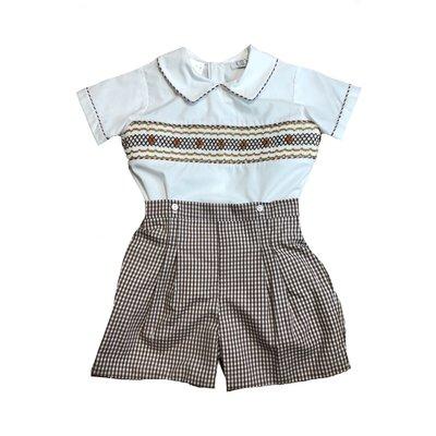 Lulu Bebe LLC Brown Check Smocked Boy Short Set