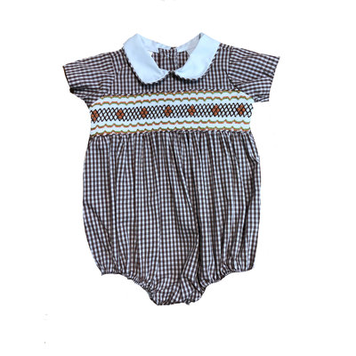 Lulu Bebe LLC Brown Check Smocked Boy Bubble