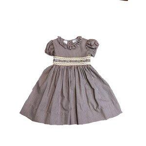 Lulu Bebe LLC Brown Check Smocked Dress
