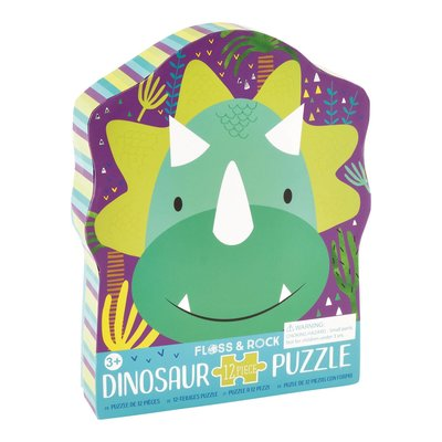 Floss and Rock Dinosaur 12pc Shaped Jigsaw Puzzle