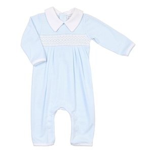 Magnolia Baby Claire and Clive's Classics Lt Blue Smocked Romper