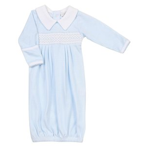 Magnolia Baby Claire and Clive's Classics Lt Blue Smocked Gown
