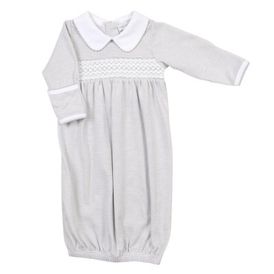 Magnolia Baby Claire and Clive's Classics Silver Smocked Gown